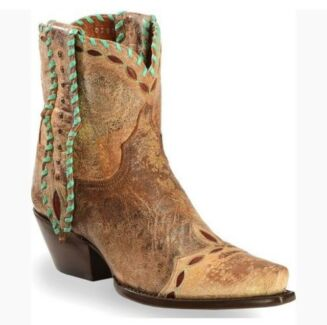 Dan Post Women's tan with Turquoise ankle cowboy boots SIZE 8.5