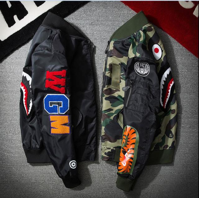 942328064 Details about Men Japan Zip Aape Camouflage Jacket Bape Shark Head MA1 Army  Flight Bomber Coat