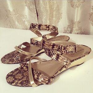TAHARI • Strappy snake-print wedge sandals • Size 7.5