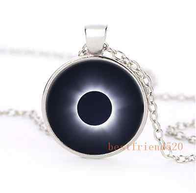 Solar Eclipse Cabochon Glass Silver Plating  Plating Necklace Jewelry