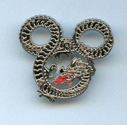 WDI Disney Imagineering Shiny Silver Chinese Dragon Mickey Mouse Icon Cast Pin