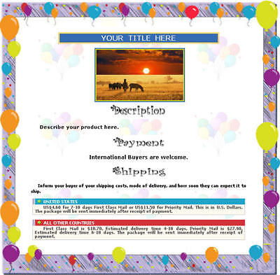 AUCTION TEMPLATE Balloons Party Birthday Design Border - FREE (Birthday Party Template)