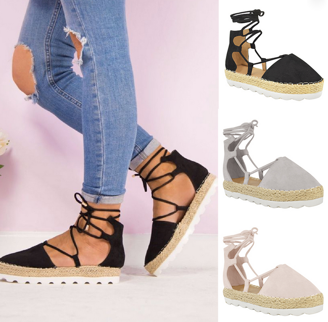 9d614c42efb Womens Ladies Ankle Strappy Flat Lace Up Gladiator Summer Sandals Shoes  Size Hot