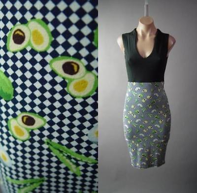 - Sculptural V-Neck High Waist Checkered Avocado Eggs Pencil 294 mv Dress S M L XL