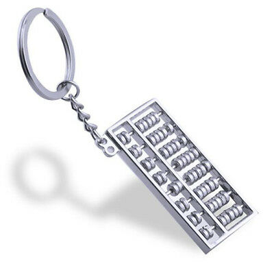 FD4837* Silvery Chinese Accounting Tool 8 Rows Abacus KeyChain Ring Keychain