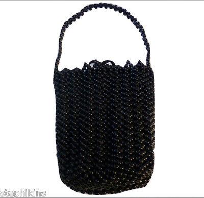 NWOT Bottega Veneta Black Beaded Evening Bag w Strap Small Bag Silk Lining
