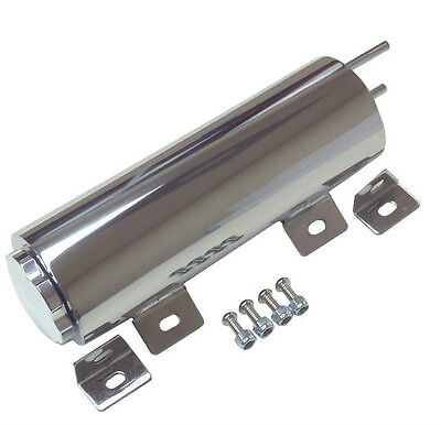 "( 3"" x 9"" ) 3 x 9 Polished Stainless 24 oz Radiator Overflow Tank Catch Can"