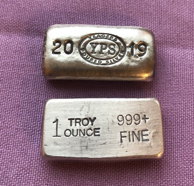 """1oz Hand Poured 999 Silver Bullion Bar """"2019"""" by Yeager's Poured Silver -  YPS"""