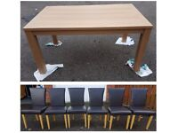 Brand New Oak Effect Dining Table & 6 Brown Faux Leather Chairs Oak Legs FREE DELIVERY 686