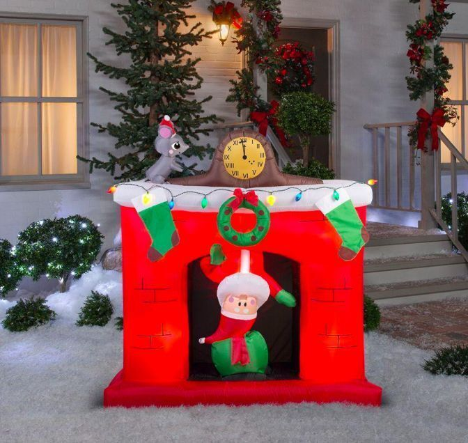 Animated Inflatable Santa's Head Popping Down Fireplace Christmas Scene Decor