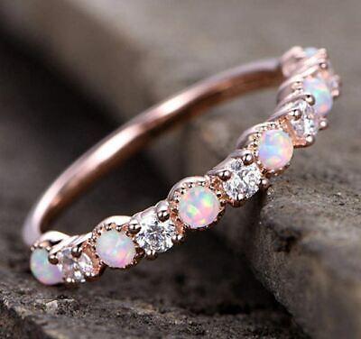Rose Gold Finger Ringe 6 Weiß Feuer Opal und 5 CZ  Kristall (20) (Rose Gold Und Weißgold Ringe)