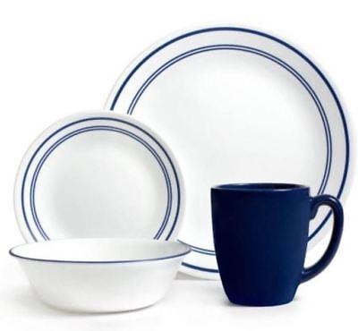 Corelle Livingware Starter 16-Piece Dinnerware Set Classic Cafe Blue (16 Piece Classic Dinnerware Set)