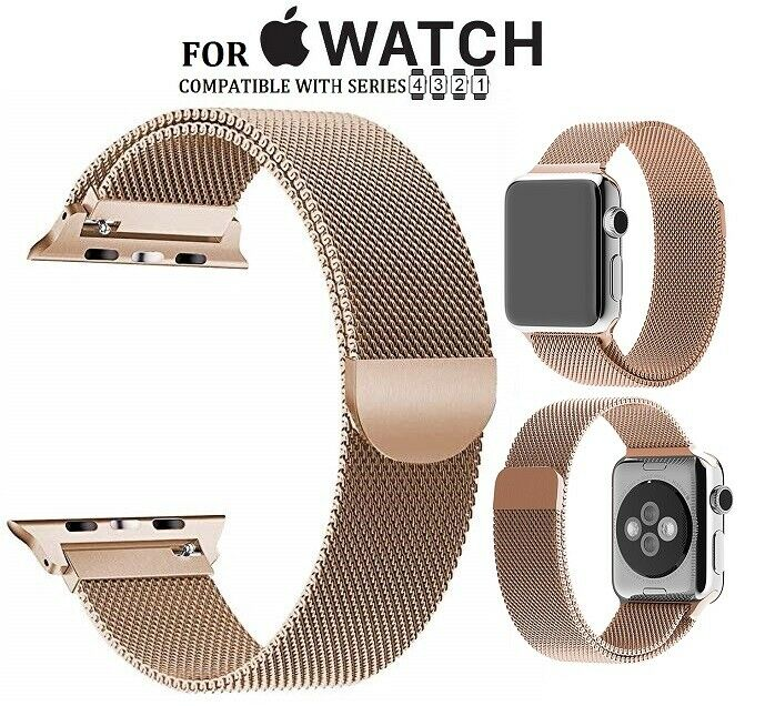 For Apple Watch Generic Milanese Loop Steel Mesh Replacement Band Strap -Gold Jewelry & Watches