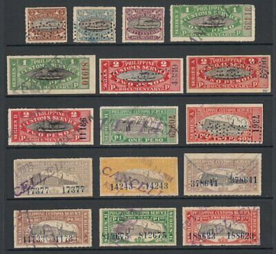 (G4370) PHILIPPINES - OLD CUSTOMS SERVICE DOCUMENTARY FISCAL STAMPS