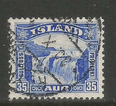 ICELAND 1931 GULLFOSS 35A ULTRAMARINE--ATTRACTIVE TOPICAL 172 FINE USED