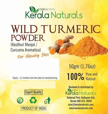 Kerala Naturals Pure Kasturi Manjal (Wild Turmeric) Powder 500gm - Top Quality