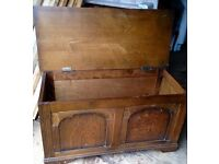 Antique Solid Oak Quality Blanket Box / Chest
