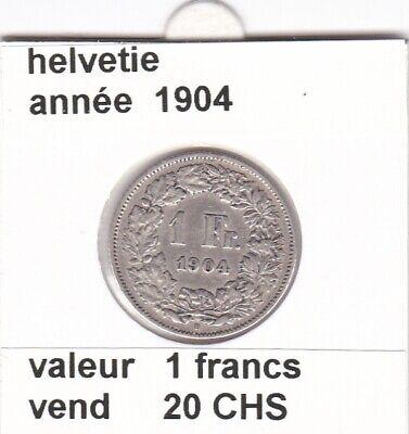 S 2) pieces suisse de 1 franc 1904  argent  voir description