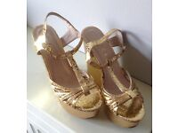 Ladies Gold Wedges By Office Size 6
