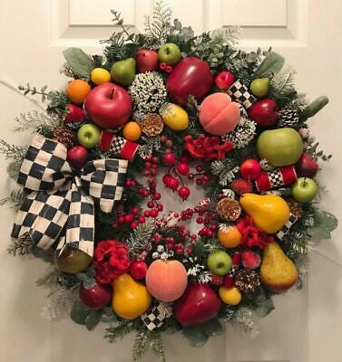WILLIAMSBURG FRUIT~MACKENZIE CHILDS RIBBON~CHRISTMAS WREATH~FALL~THANKSGIVING