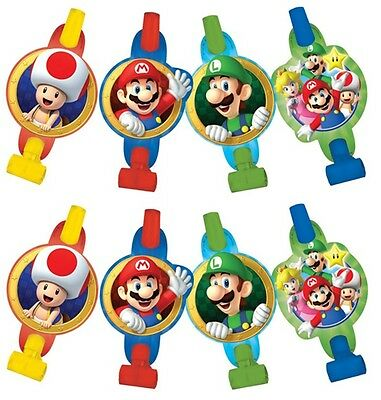 Super Mario Brothers Blowouts (8) Birthday Party Supplies Noisemaker Decorations (Super Mario Brothers Decorations)