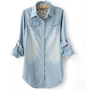 New womens denim shirt lady long sleeves button front for Ladies light denim shirt