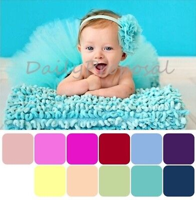 Newborn Infant Baby Girl Flower Headband & Tutu Skirt Dress Photo Prop 12Col USA