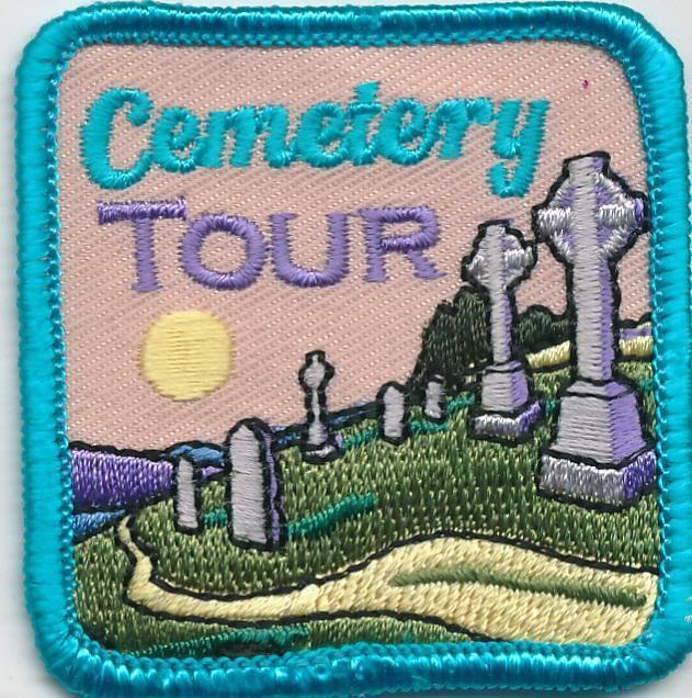 Girl Boy CEMETERY TOUR Visit Grave Memorial Fun Patches Crest Badges SCOUT GUIDE