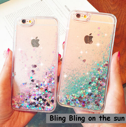 Fashion Women Moving Bling Glitter Liquid Hard Phone Case For iPhone 6s 7 8 X 5G