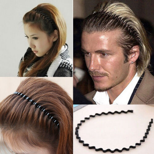 Fashion Men Women Sports Wave Hair Band Unisex Metal Black Curve ... a548439bacd