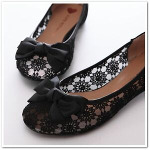 bowed ladies wedding ballet flats ballerina comfy shoes beige black