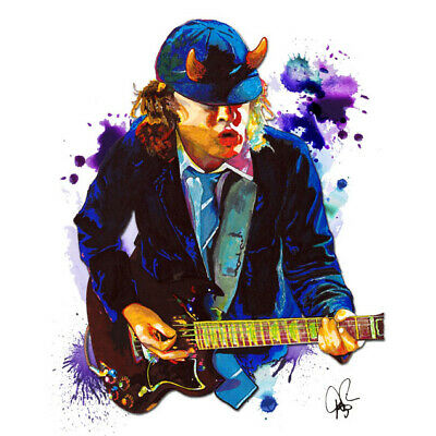 "Angus Young AC/DC Blues Rock Lead Guitar 11x14"" Music Art Print Poster"