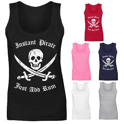 Womens Instant Pirate Just Add Rum Skull Slogan Vest Tank Top NEW UK 8-18