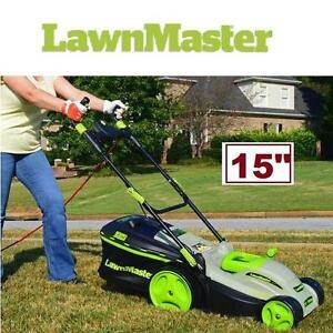 "NEW LAWNMASTER 15"" MULCHING MOWER 10-AMP - ELECTRIC - Patio  Garden  Outdoor Power Equipment  Lawn Maintenance"