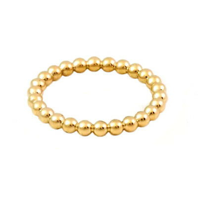 Handmade in USA Yellow Gold Plated Beaded Stackable Ring Ball Ring Sizes 3,5 & 6