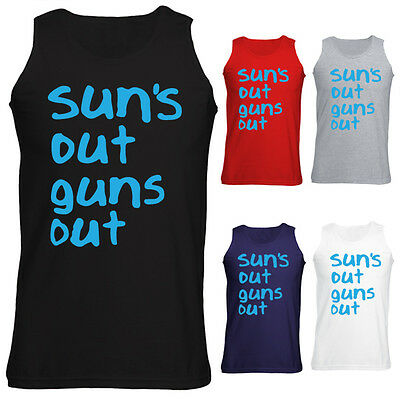 Mens Suns Out Guns Out 22 Jump Street Slogan Tank Top Vest NEW S-XXL (Suns Out Guns Out Tank Top)