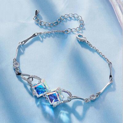 925 sterling silver Xmas Gift Sugar Rainbow Crystal Topaz Charming Bracelets