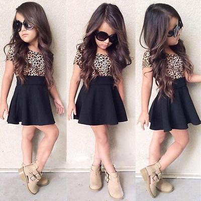Girls Kids Leopard Printing Short Sleeveless Dress Cute little princess skirt