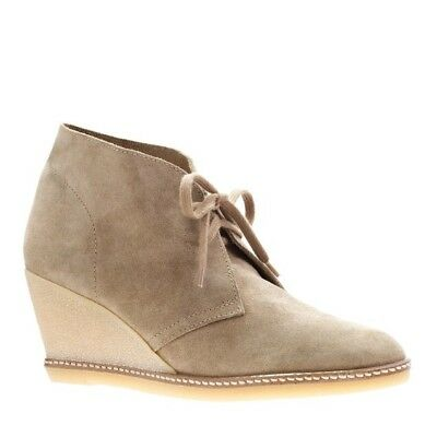 J. Crew MacAlister Wedge Boot Beige Suede Lace Up Ankle Size 9 for sale  North Adams