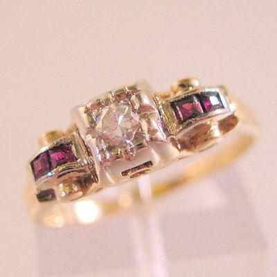 1930's Art Deco Vintage 14k YG Diamond & Ruby Engagement Ring Size 6.5 Jewelry