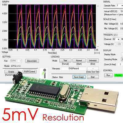 Icp12- Usbstick 6 Ch Usb Pc Oscilloscope Data Logger Io Adc Daq Pwm Pic18f2550