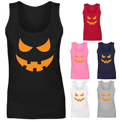 Womens Pumpkin Face Halloween Funny Costume Vest Tank Top NEW UK 8-18 - Funny Halloween Costumes Uk