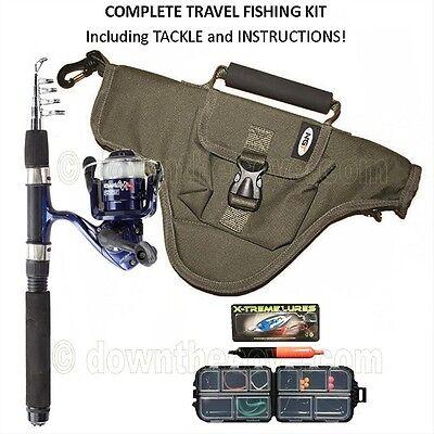 Complete Namazu Mini Telescopic Travel Fishing Rod Reel Bag Tackle, Instructions