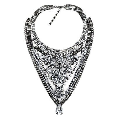 Fashion Charm Chunky Crystal Statement Bib Chain Choker Pendant Jewelry Necklace