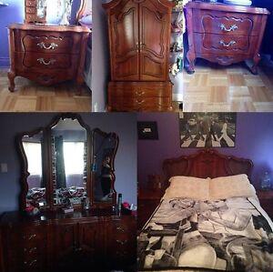 Solid cherry wood 5 piece bedroom set