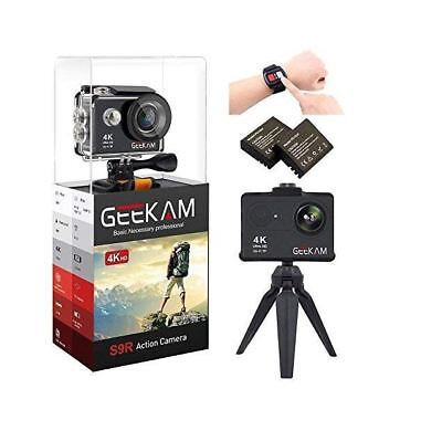 4K Waterproof Action Camera, WiFi and Remote, 2 Batteries + Accessories Kit