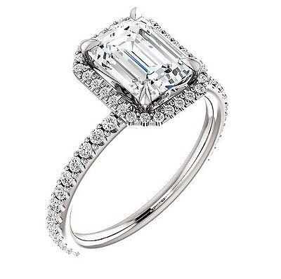 1.90 Ct. U-Pave Setting Emerald Cut Halo Diamond Engagement Ring E, VS2 GIA 14K