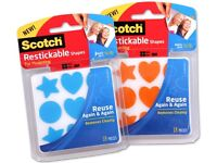 10x packs of SCOTCH restickable shapes. NEW