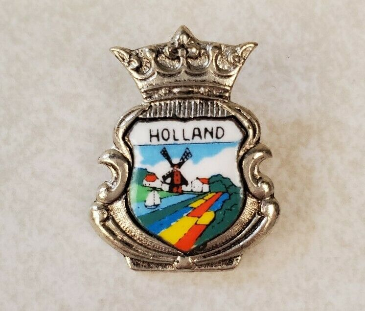 Vintage Holland Small Enamel Lapel or Hat Pin - Netherlands Windmall Crown