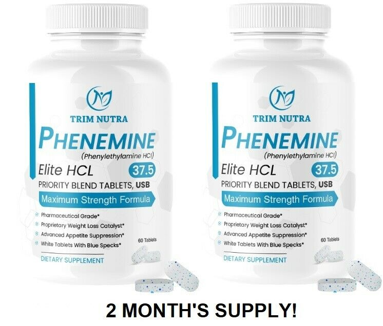 2 Month Phenemine Elite 37.5 White/Blue Weight Loss Diet Pills Fat Burners 375